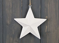 White Enamel Hanging Star (15cm)