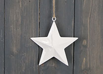 White Enamel Hanging Star (12cm)