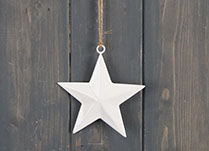 White Enamel Hanging Star (10cm)