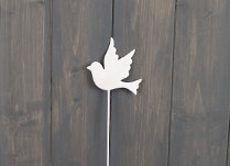 White Enamel Dove on Stick (30cm) detail page